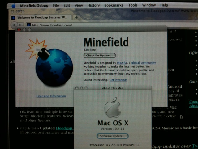 [Snapshot: success! Firefox 4.0b7pre on a Power Mac G5 running OS X Tiger]