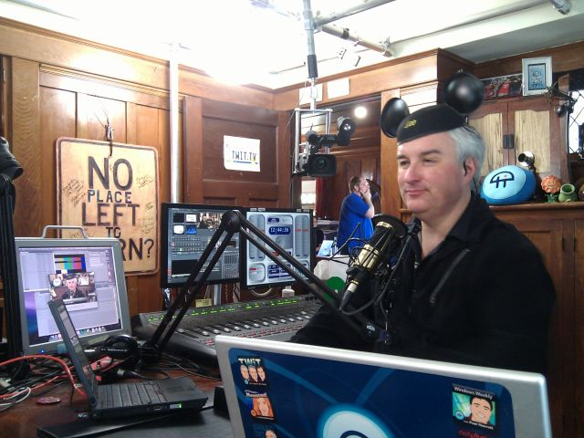 [Snapshot: the mouse ears help when @leolaporte takes calls]