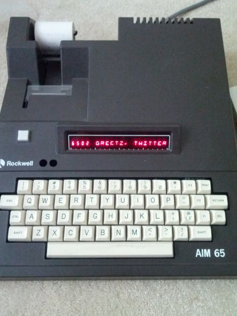 [Snapshot: arrived: Rockwell AIM-65! 6502 greetz! @jeriellsworth @funkatron]