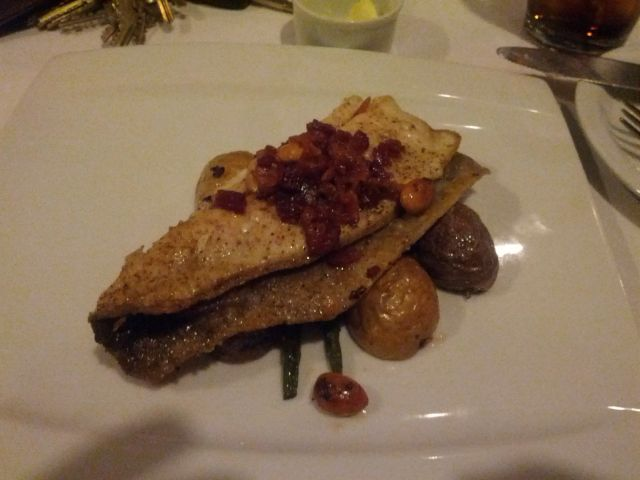 [Snapshot: main course at Valentien: broiled trout with almonds and bacon]