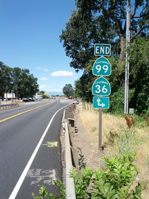 [Snapshot: END CA 99 (but not US 99) in Red Bluff, CA]