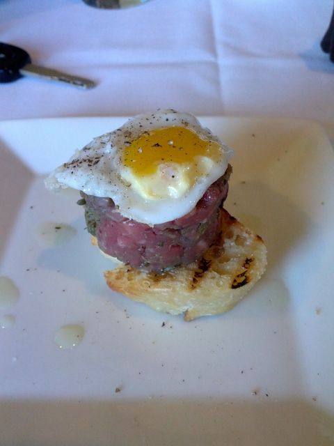 [Snapshot: steak tartare with quail's egg]