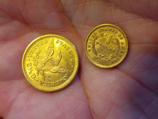 [Snapshot: $2.50 and $1 gold US dollars, 1904 and 1853 (latter worth today about 600x face value)]