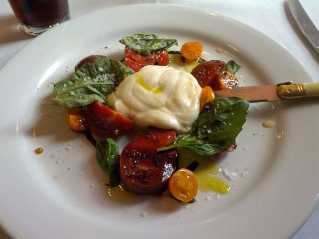 [Snapshot: first course at Mulvaney's: heirloom tomatoes and grilled handspun Mozzarella]