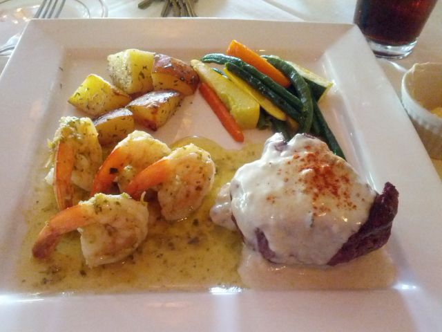 [Snapshot: surf'n'turf: bleu cheese-champagne filet mignon and shrimp]