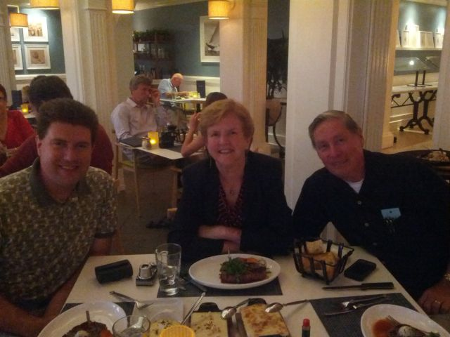 [Snapshot: steak with the folks #hoteldel]