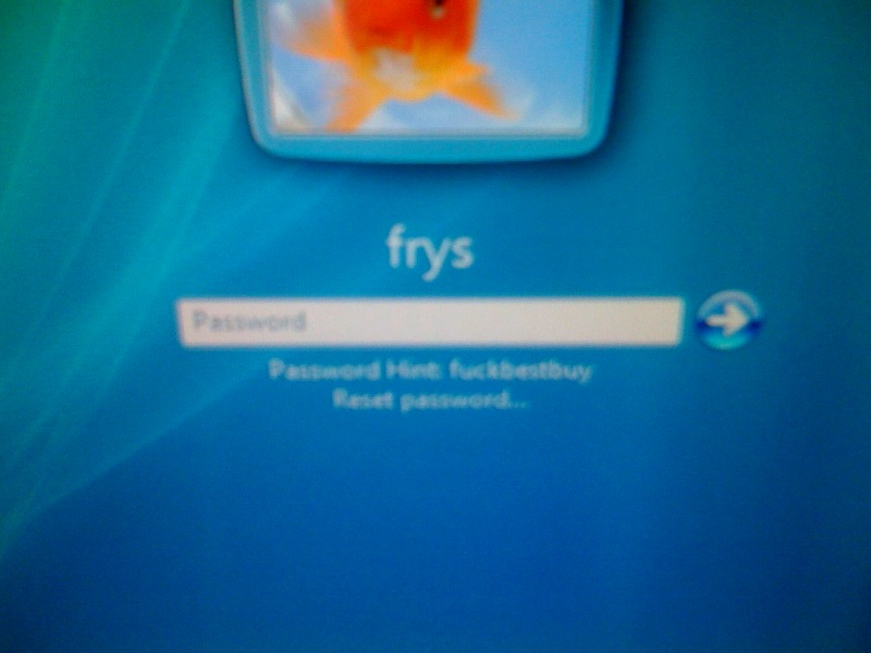 [Snapshot: really the Fry's password hint (PG-13)]