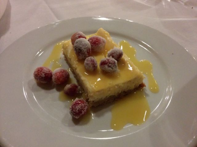 [Snapshot: eggnog cheesecake and candied cranberries]