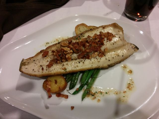 [Snapshot: main course, Valentien: trout Almandine with lardons, haricots and potatoes]