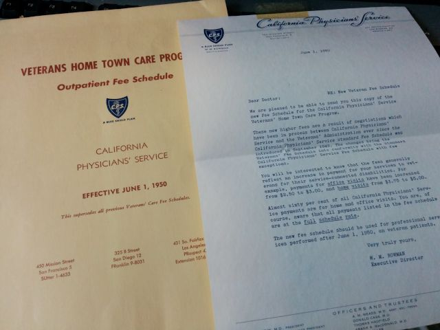[Snapshot: more office discoveries, from 1950. an MD office visit was $3.]