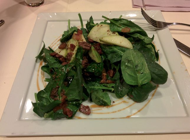 [Snapshot: first course, Dawson's: apple spinach pecan bacon salad]