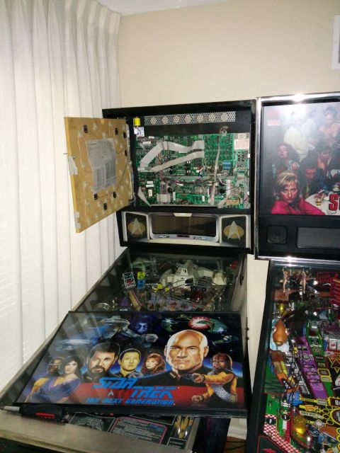 [Snapshot: shopping the TNG pinball motherboard and backbox]
