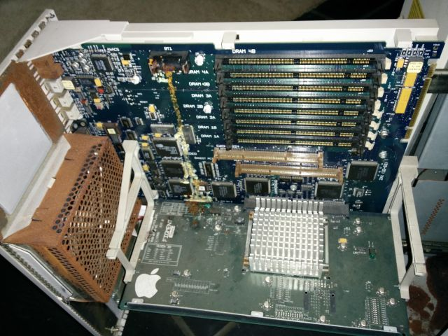 [Snapshot: for ThinkClassic: Shiner prototype motherboard with battery and capacitor damage :(]