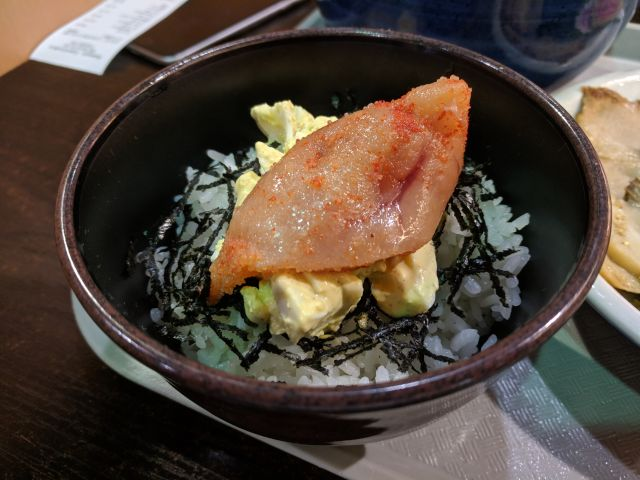 [Snapshot: another dining adventure that ended in revulsion: mentaiko]