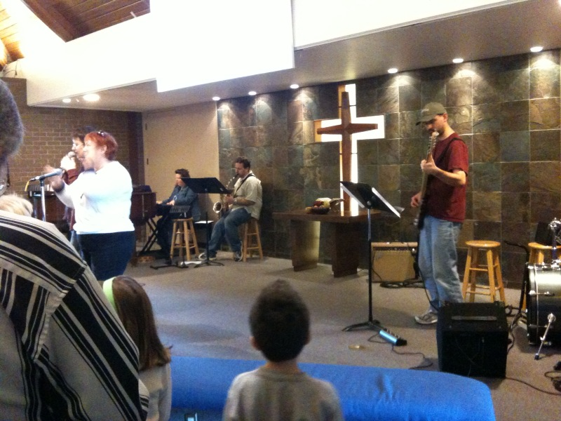 [Snapshot: Song service at Cupertino Naz]